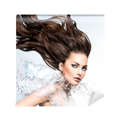 Hair blowing png. Model girl with water