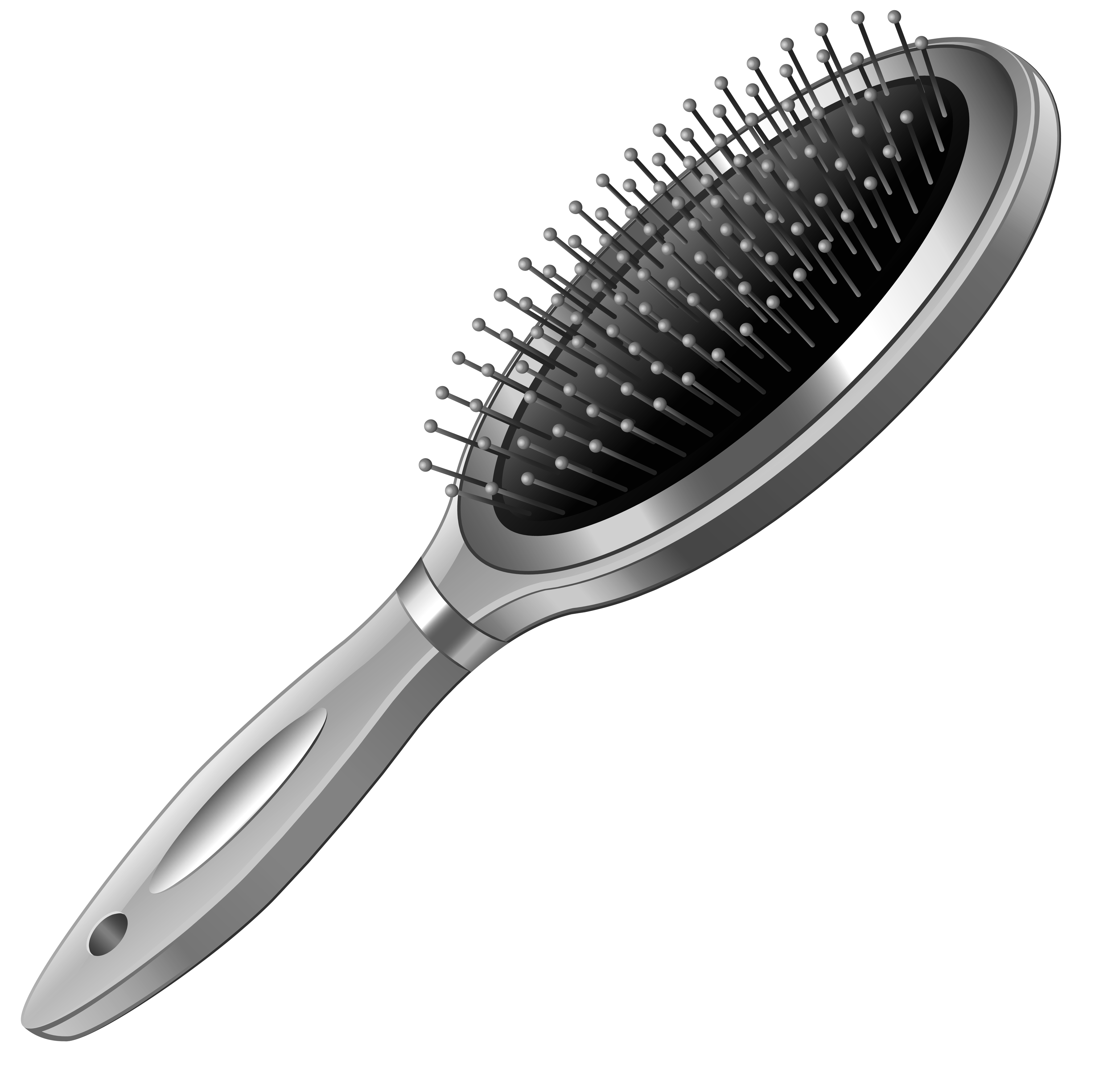 Toothbrush clip pink hair brush. Silver hairbrush png clipart