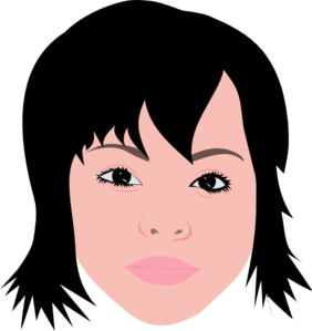 Hair clipart short. Asian girl with clip