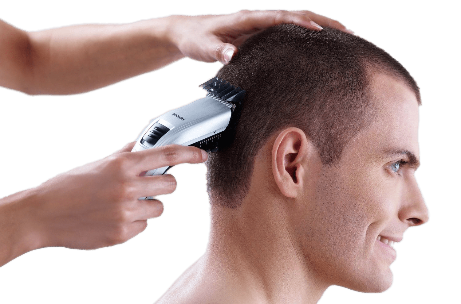 Hair cutting with clipper. Clip bangs diy picture black and white
