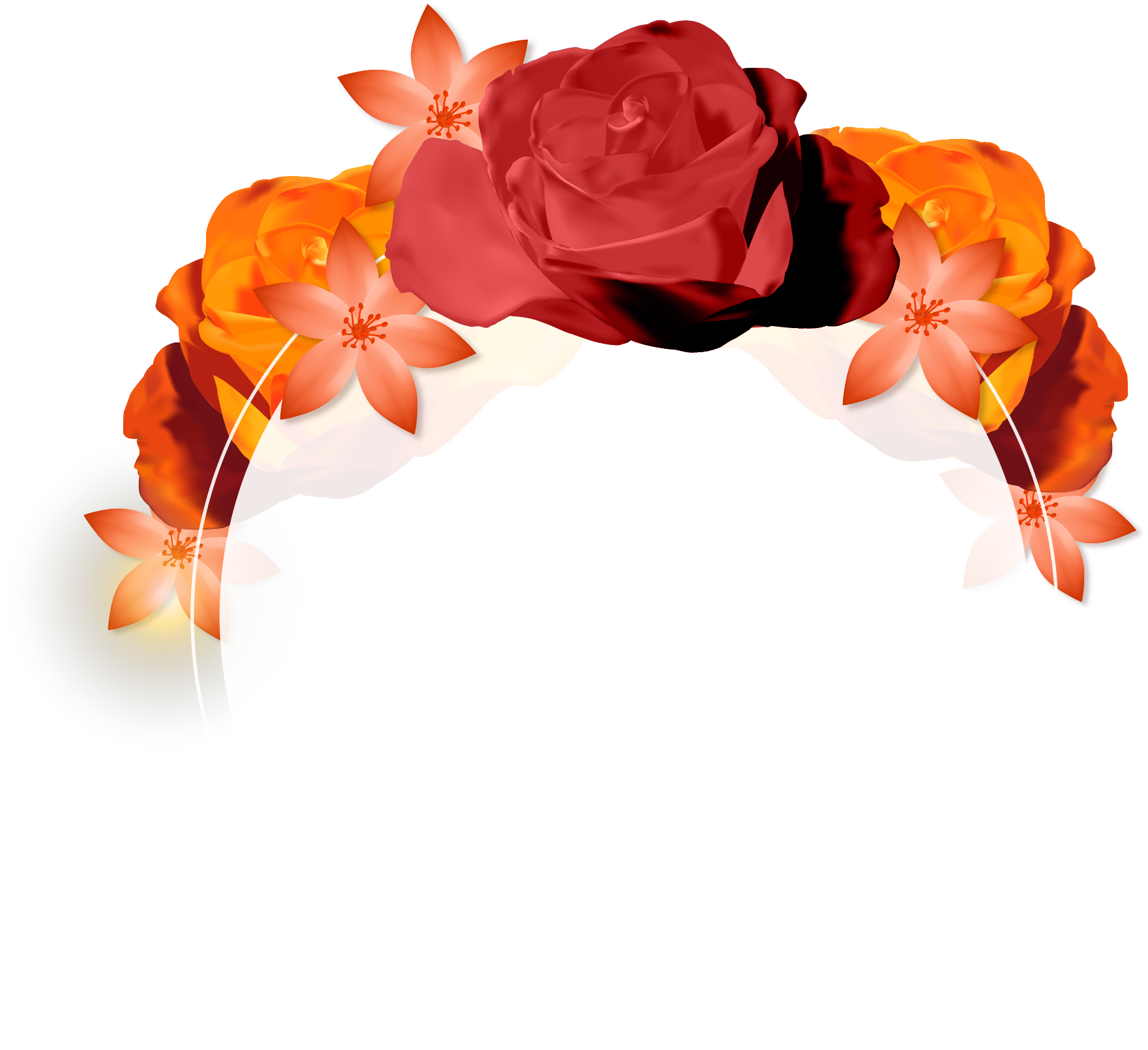 Hair flower png. Vector hand painted decoration