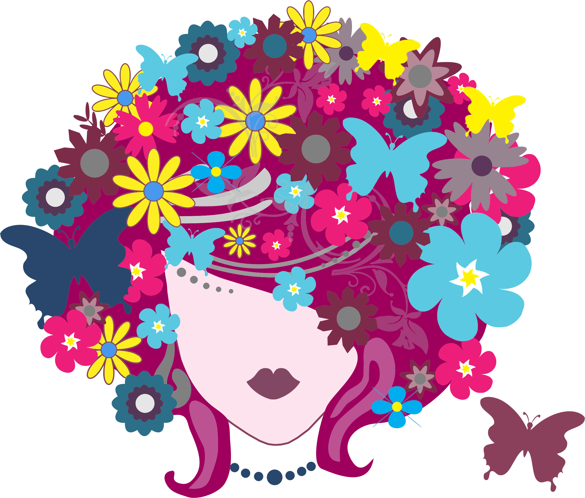 Hair flower png. Floral butterfly woman icons