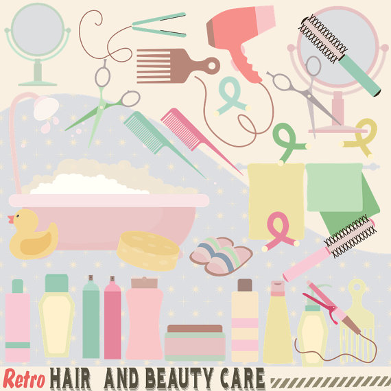 Hairdresser clipart item. Retro hair and beauty
