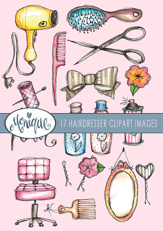 Hairdresser clipart item. Watercolor theme sissors mirror