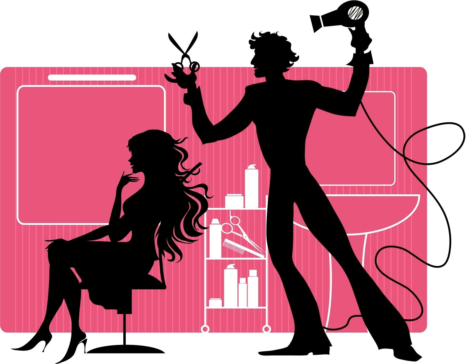 Hairdresser clipart pink. New hair stylist design