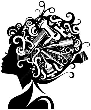 Hairdresser clipart shears. Lady s silhouette with