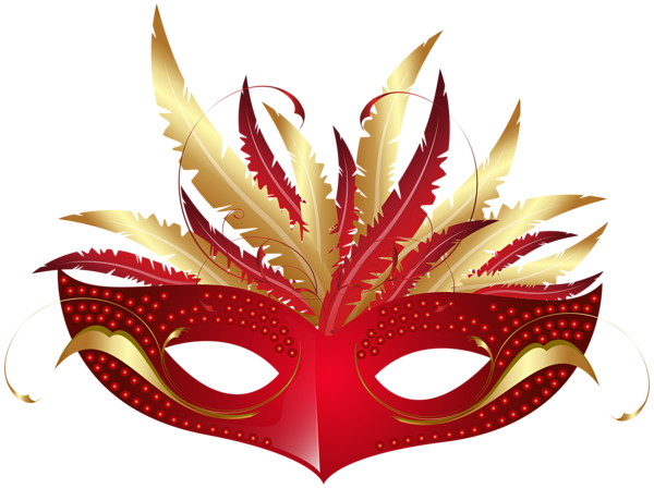Half masquerade mask invitations png. Red carnival decorative elements