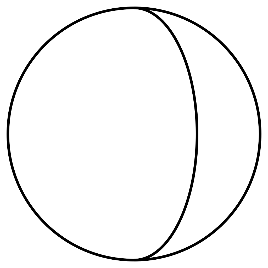 Oval drawing basic. File gibbous crescent half