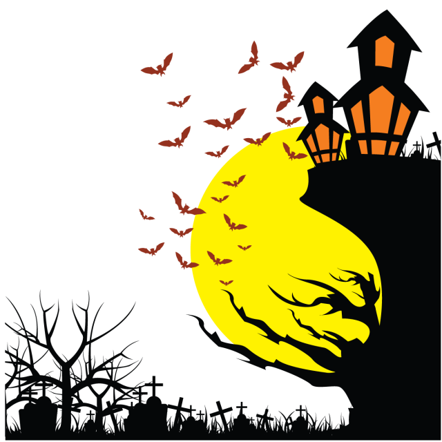 Halloween background png. Night illustration and vector