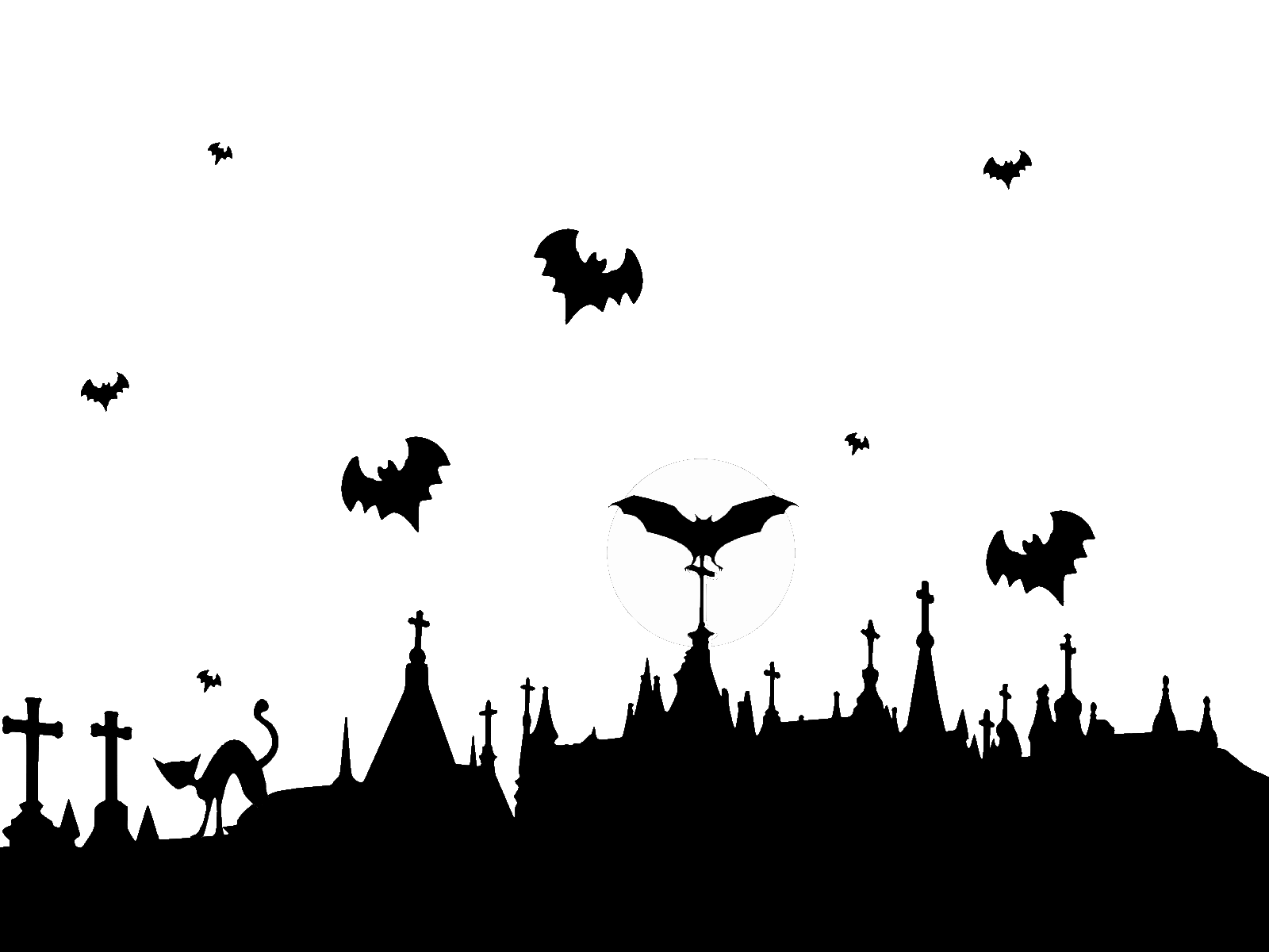Halloween background png. Graveyard and flying bats