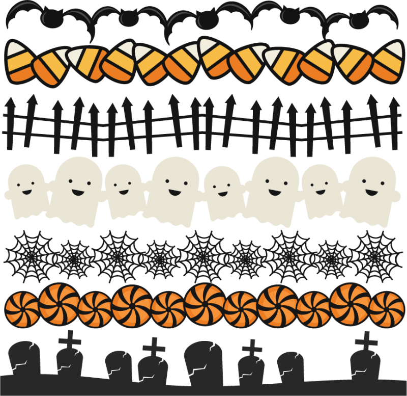Halloween borders png. Set svg scrapbook title