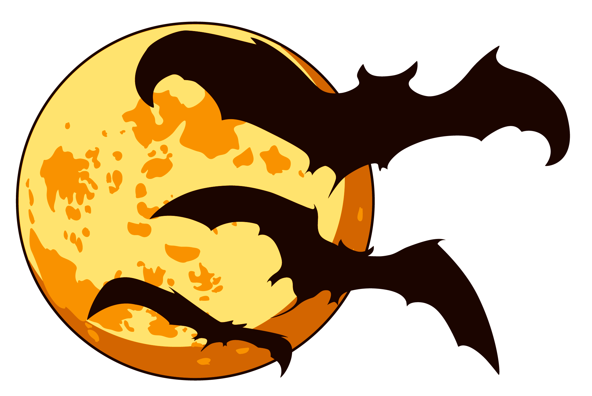 Orange moon with clipart. Halloween bats png vector black and white