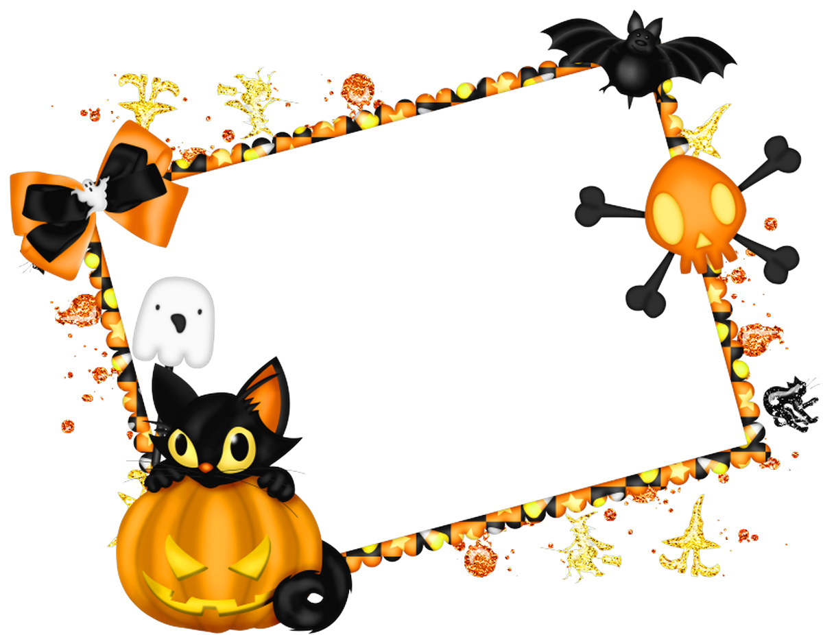 Halloween clipart corner. Free frame and clip