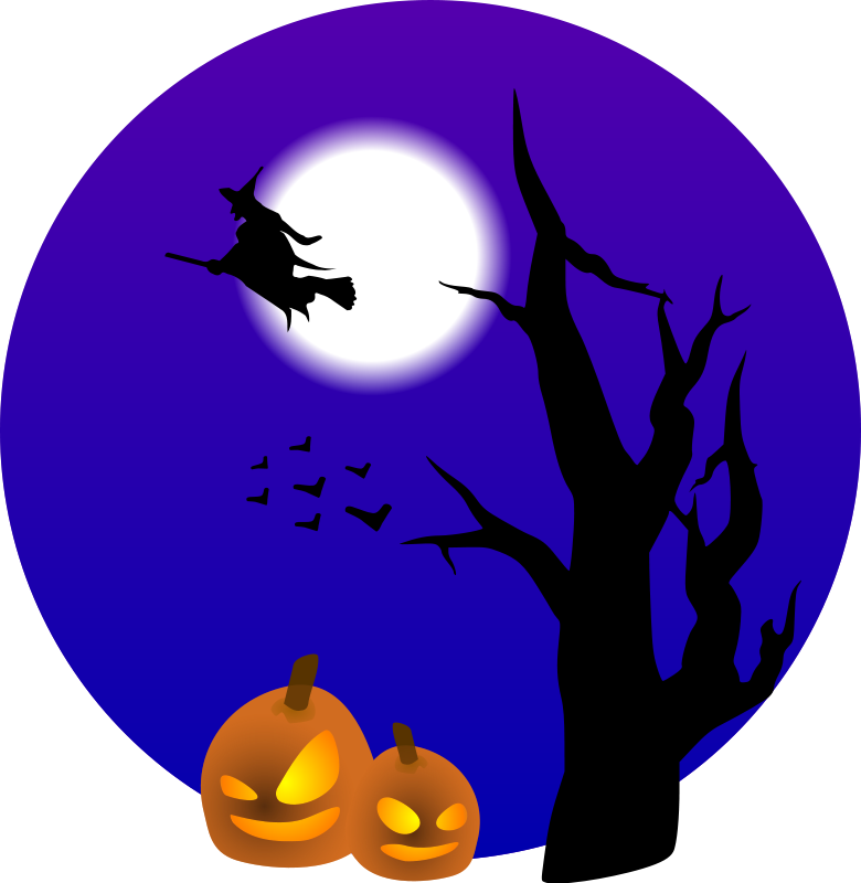 Night clipart night scenery. Halloween bunting art and