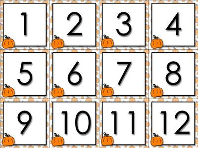 Halloween clipart number. Calendar cards numbers pumpkin