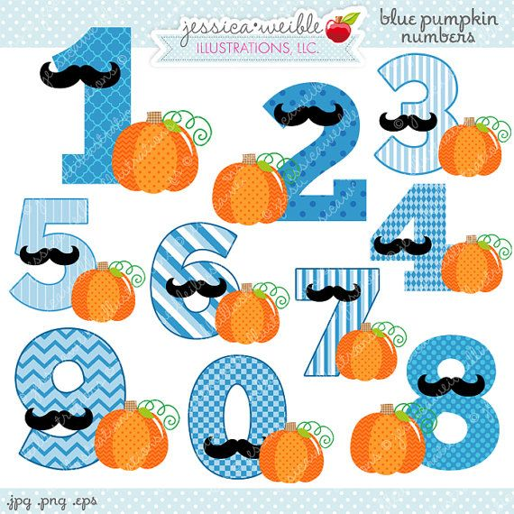 Halloween clipart number. Blue pumpkin numbers cute