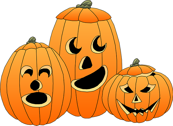 Halloween clipart png. Happy three pumpkins
