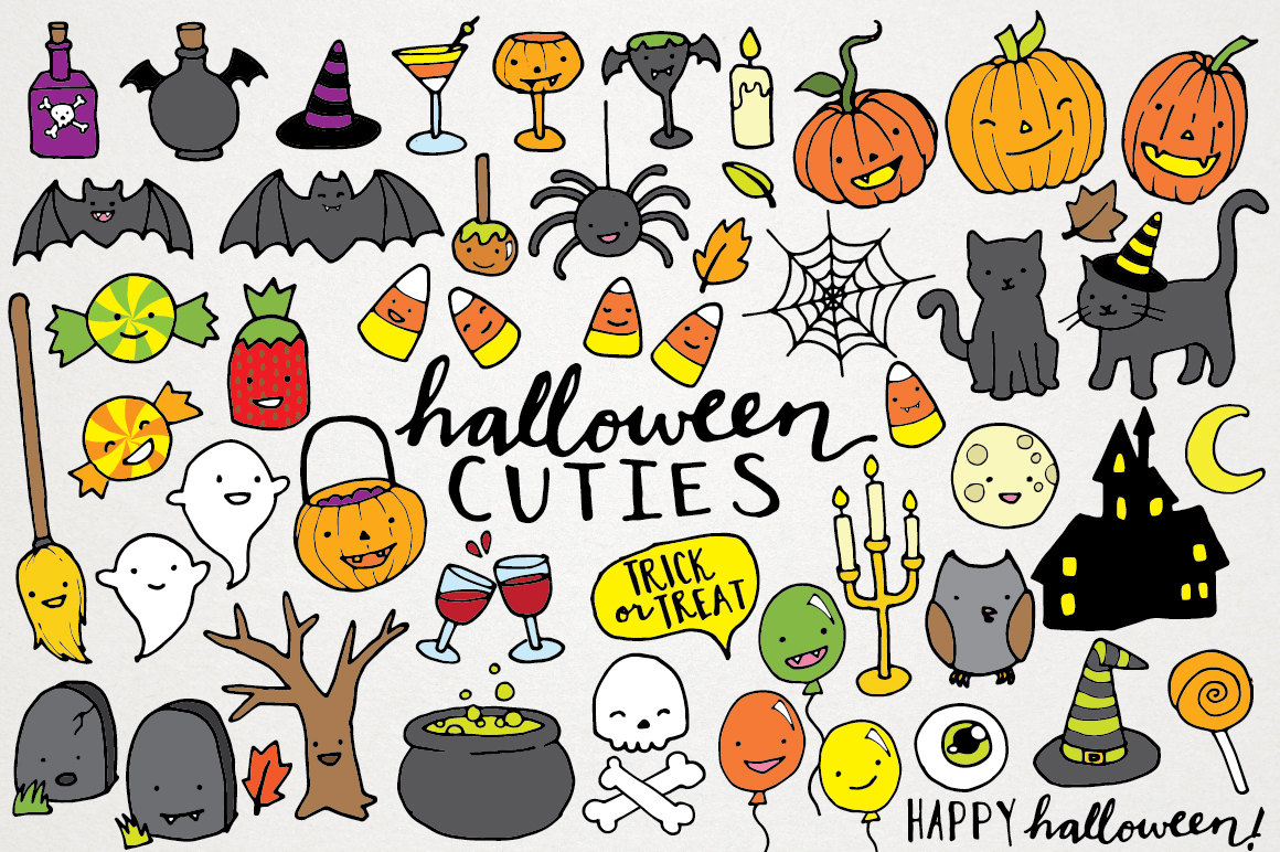 Halloween clipart potluck. Gothic cute illustration