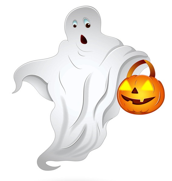 Halloween ghost png. With pumpkin basket clipart