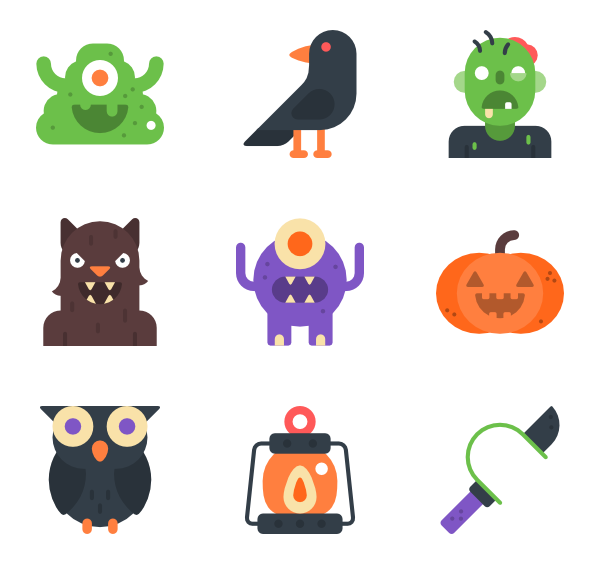 Halloween icons png. Free vector