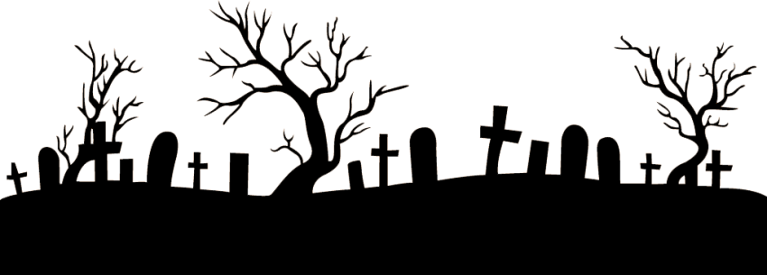 Halloween png graveyard. Footer image with transparent