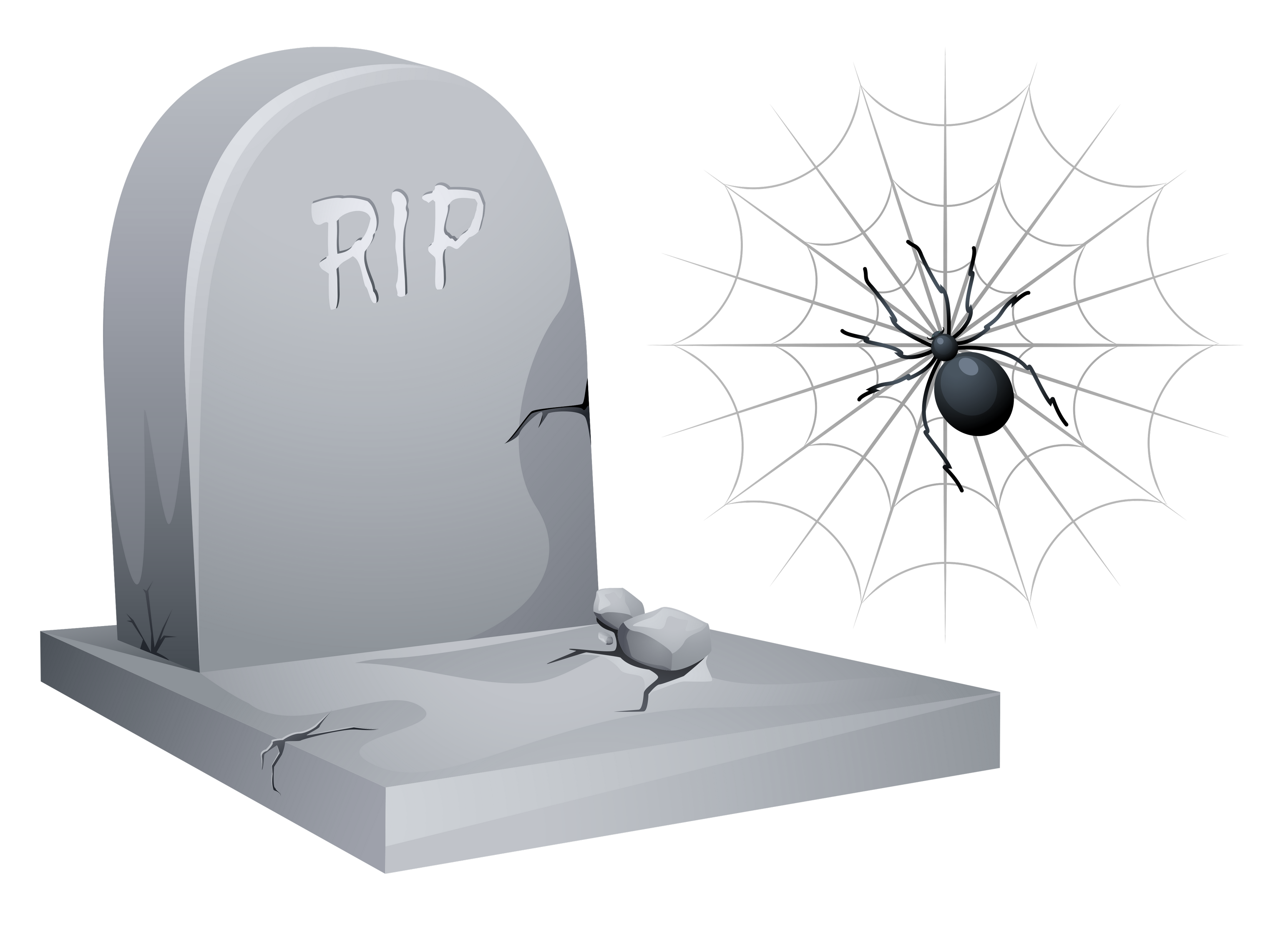 Halloween tombstone png. Rip with spider and