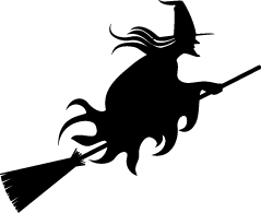 Halloween witch png. Black and white clipart