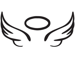 Halo clipart decal. Angel wing vinyl car