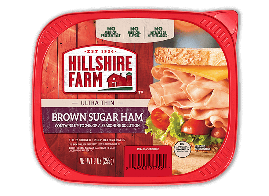 Ham transparent preserved. Thin sliced brown sugar