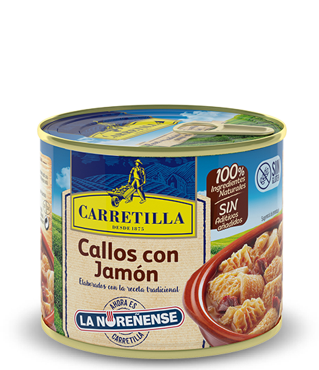 Ham transparent preserved. Carretilla tripe with servings