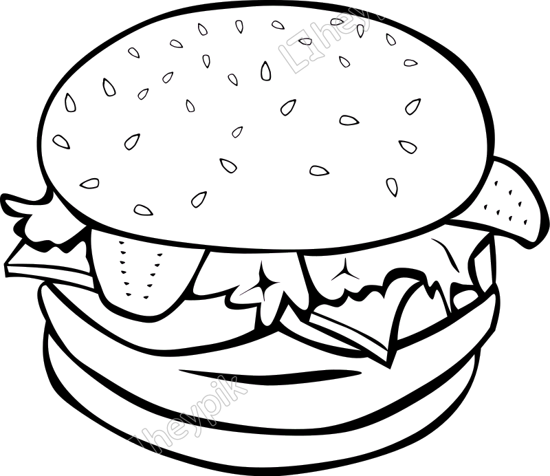 Hamburger svg junk food. Fast lunch and dinner
