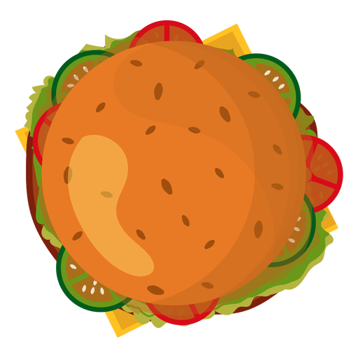 Vector hamburger transparent background. Top view icon png