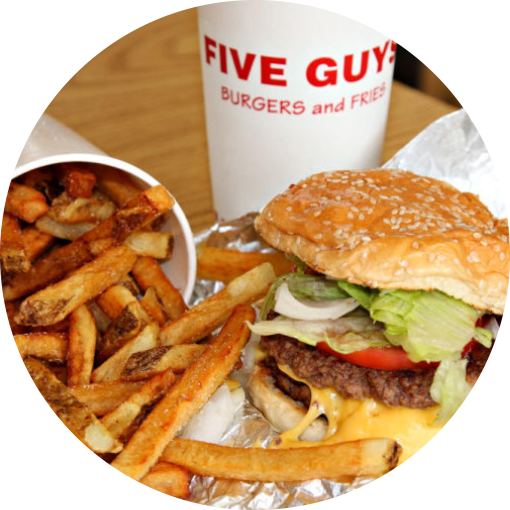Hamburger with fries png. Five guys burgers and