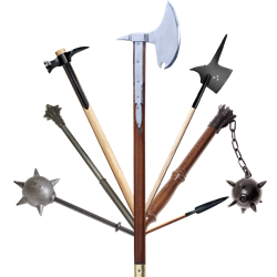 Hammer clipart medieval. Pole weapons polearms and