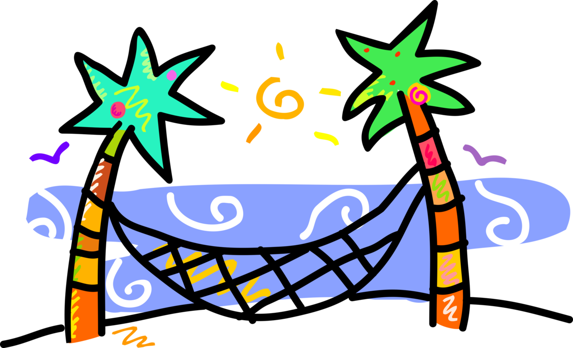 Hammock clipart vector. Palm trees with image