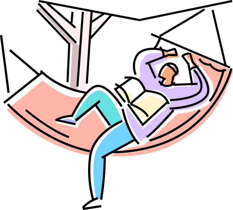 Hammock clipart vector. Student relaxes and reads