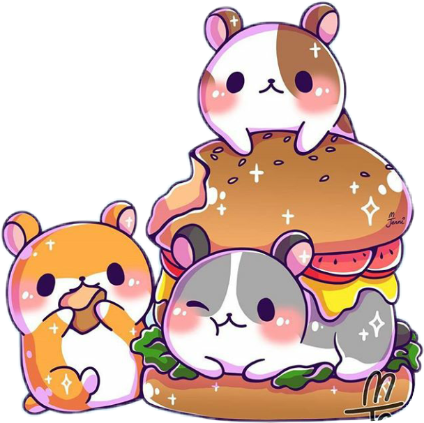 Hamster clipart kawaii. Cute hamburger kawaiifood hamsters