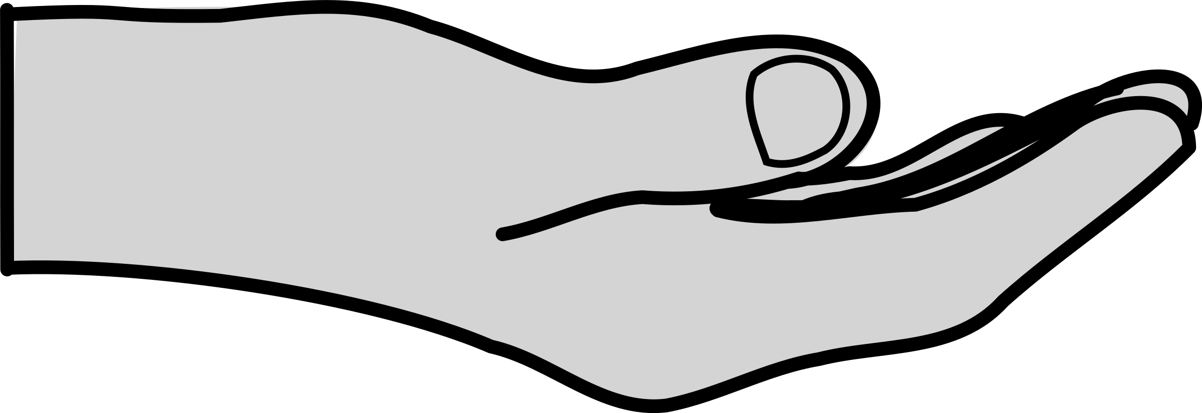 Hand clip outstretched. Open giving hands