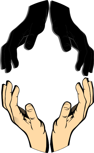 Vector unity hands. In clip art at