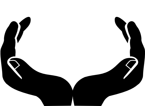 Hand clipart. Open praying hands panda