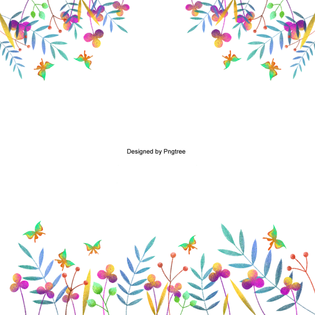 Hand clipart border. Beautiful flower painted flowers