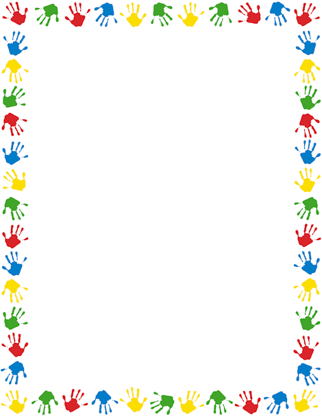 Hand clipart border. A page featuring handprints