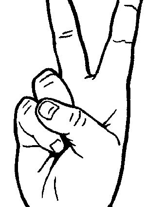 Hand clipart peace. Draw sign fingers collection