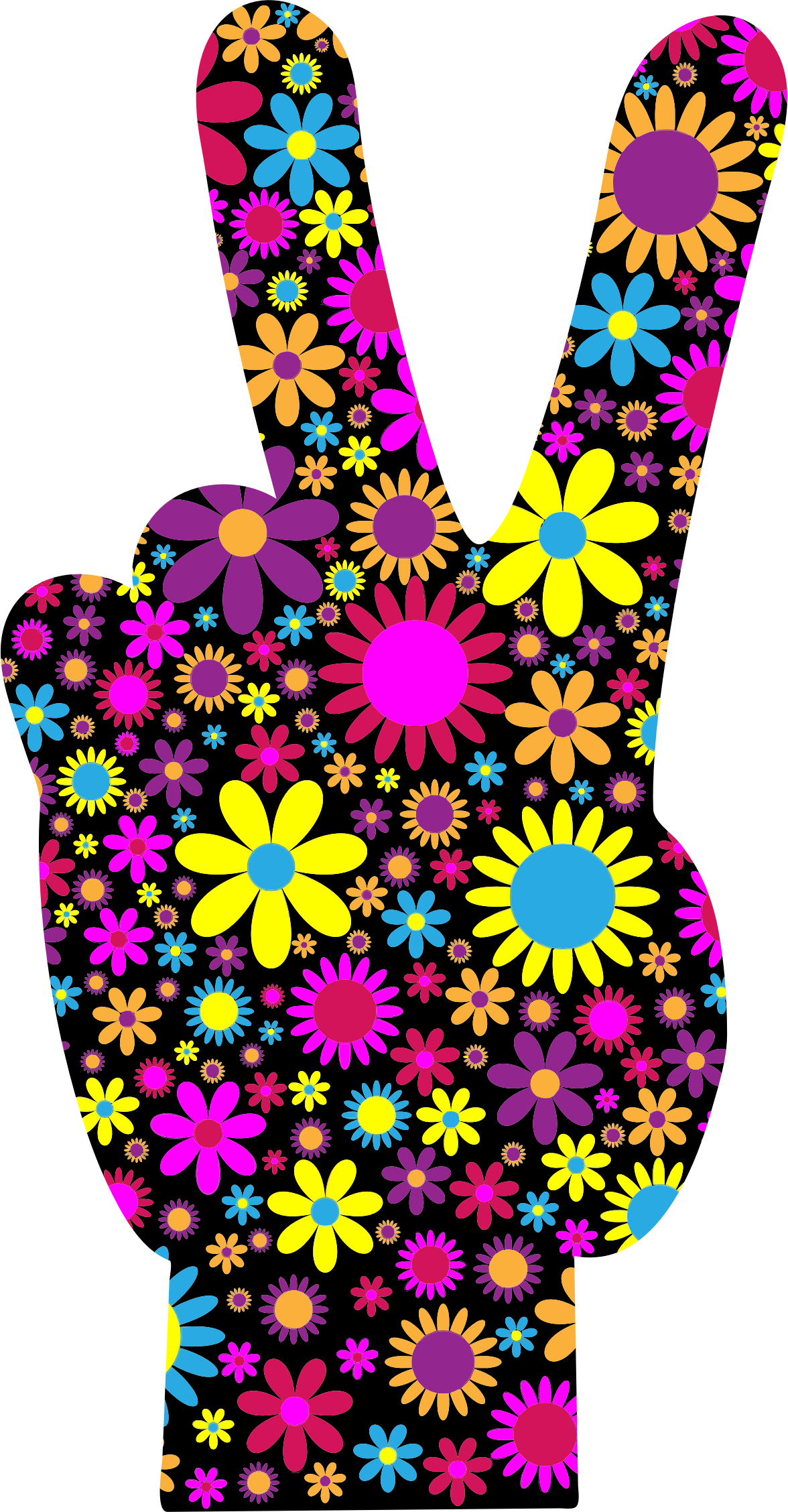 Peace clipart hand signal. Floral sign big image