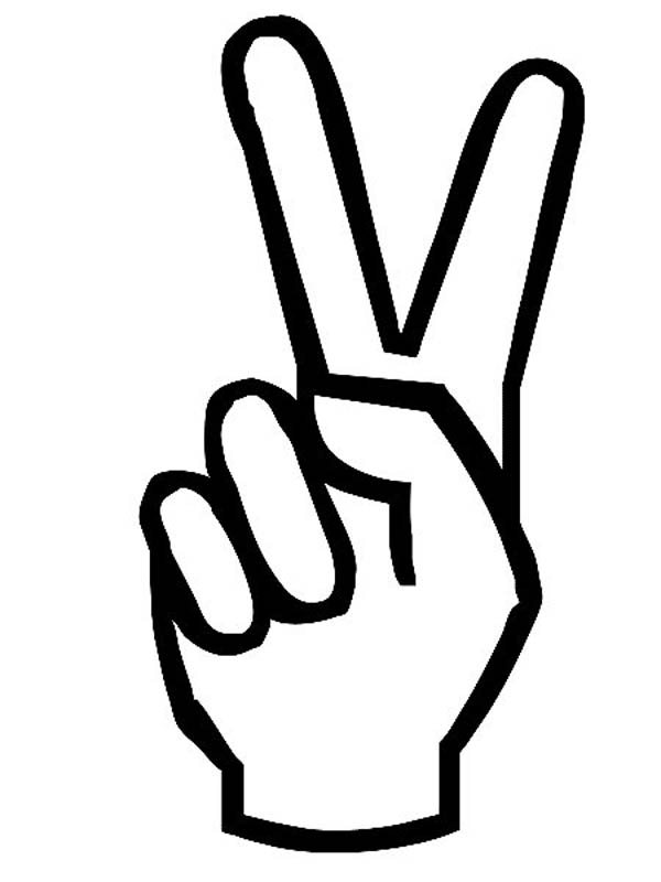 Peace clipart hand signal. Sign coloring in panda