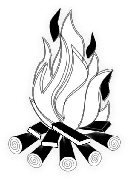 Black and white fire. Hand drawn bonfire png picture transparent