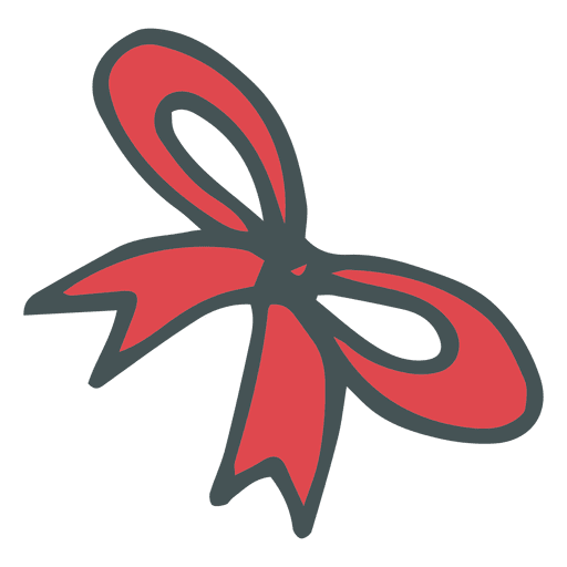 Hand drawn bow png. Red cartoon icon transparent