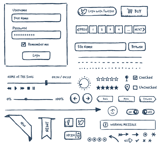 Elements drawing hand. Jolly ui free drawn