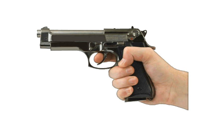 Handgun transparent hand holding. Gun in png photos