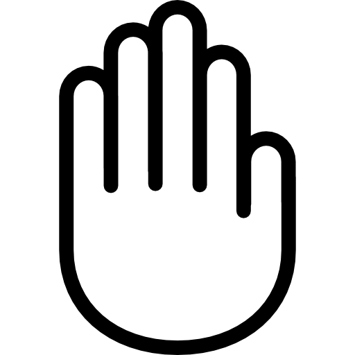 Hand outline png. Showing palm free gestures